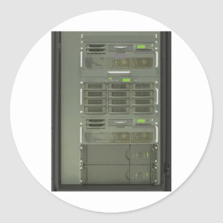 datacenter computer servers rack classic round sticker
