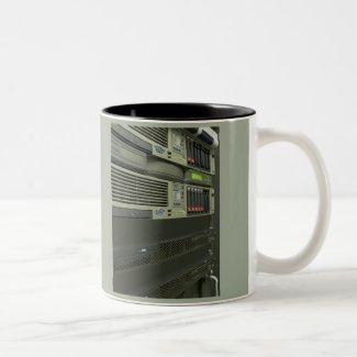 datacenter computer servers rack Two-Tone coffee mug