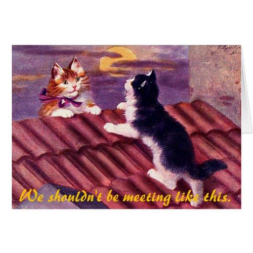 Datación felina tarjeta de felicitación
