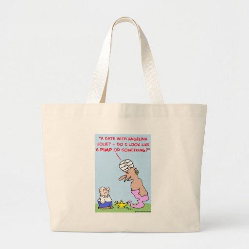 date angelina jolie pimp genie lamp large tote bag