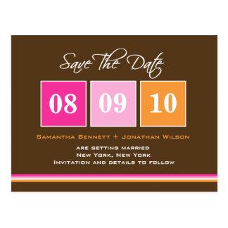 Date Blocks - Pink Orange Postcard