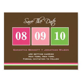 Date Blocks Save The Date Card - Fuchsia Green