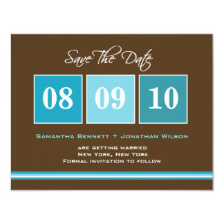 """Date Blocks Save The Date Card - Turquoise 4.25"""" X 5.5"""" Invitation Card"""