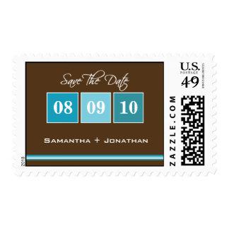 Date Blocks - Turquoise Postage Stamp