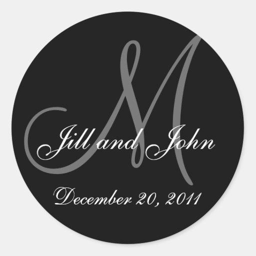 Date, Bride Groom Names Monogram Wedding Sticker