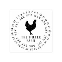 Date & Farm Name Personalized Chicken Egg Stamp