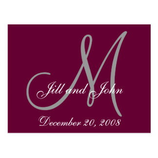 Date, First Names and Initial Monogram Postcard
