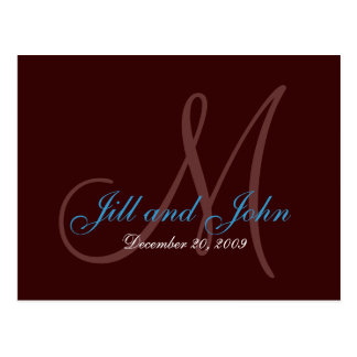Date, First Names and Monogram Teal and Brown Card Postcard