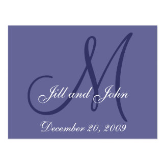 Date, First Names, Initial Monogram Save the Date Postcard