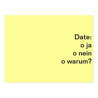 date ja oder nein postcard