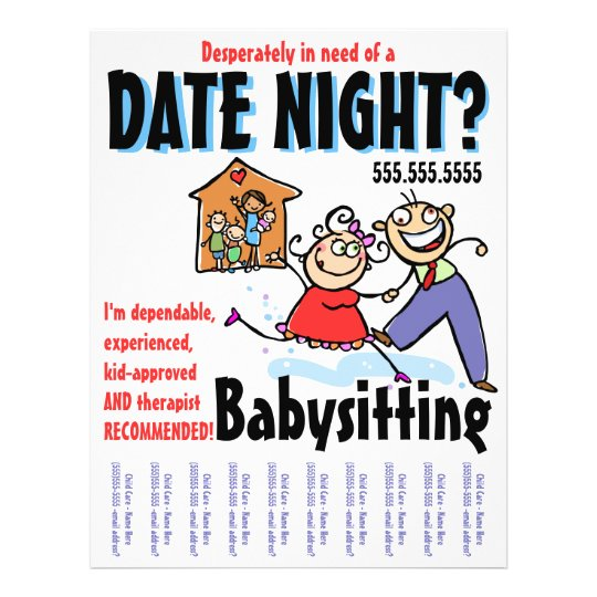Date Night Babysitting Child Care Flyer Zazzle