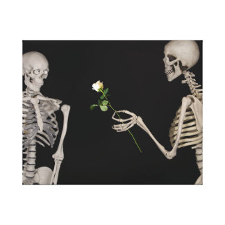 Date night Cute skeleton couple Canvas Print