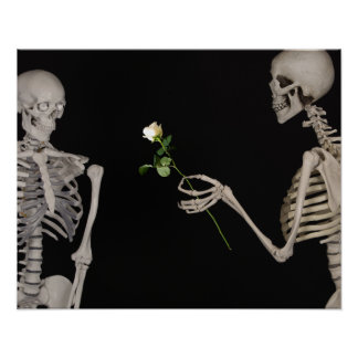 Date night Cute skeleton couple Poster