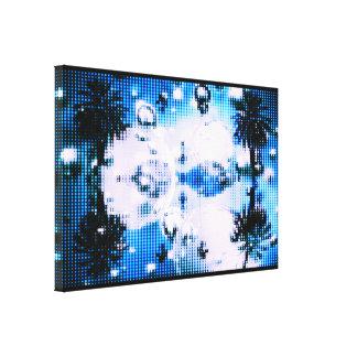 Date Palm Mirror Bubbles Blue Canvas Print