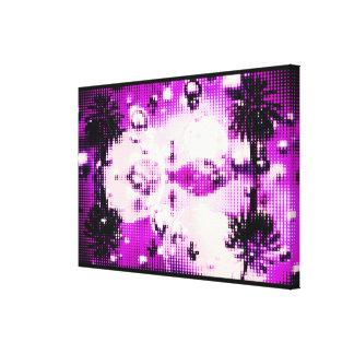 Date Palm Mirror Bubbles Violet Canvas Print