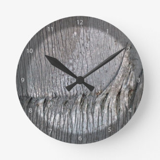 Date Palm Tree Trunk Round Wall Clock