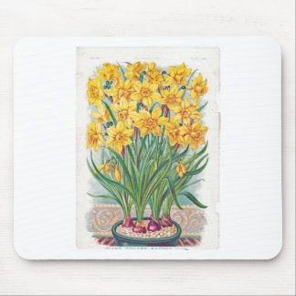 date rsvp  flowers daffodil yellow vintage mouse pad