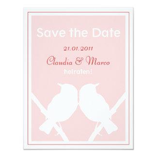 Date Save the tarjeta de, rosa y rojo a la boda Invitación 10,8 X 13,9 Cm