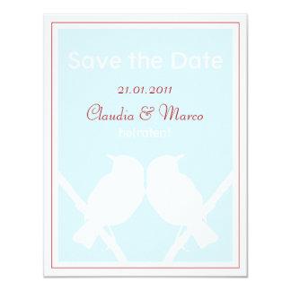 Date Save the tarjeta türkis y rojo a la boda Invitación 10,8 X 13,9 Cm