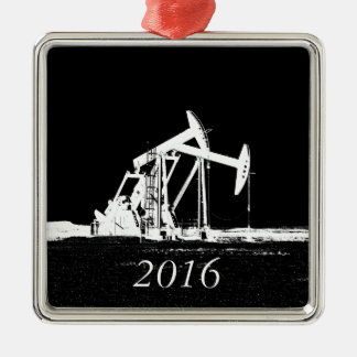 Dated (2016) Dual Oil Well Pumping Unit Metal Ornament