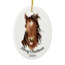Dated Christmas Custom Watercolor Horse Attitude Ceramic Ornament