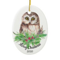 Dated Christmas Custom Watercolor Owl Bird Ceramic Ornament