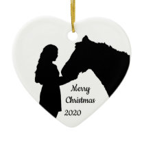 Dated Christmas Girl & Her Horse Love Silhouette Ceramic Ornament
