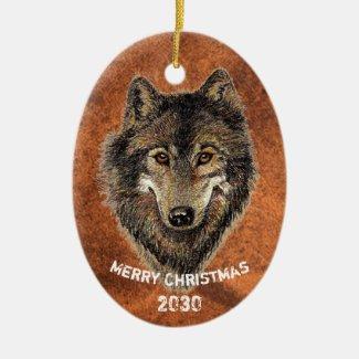 Dated Custom, Wolf, Wolves Animal Nature Art Ceramic Ornament