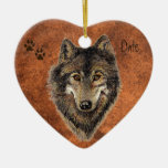 Dated Custom, Wolf, Wolves & Tracks Animal Double-Sided Heart Ceramic Christmas Ornament