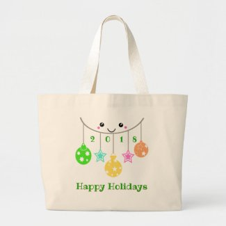 Dated Happy Face Ornaments Large Tote Bag