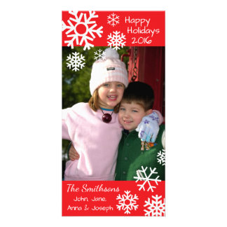 Dated Multiple Snowflakes Christmas (Red) Card