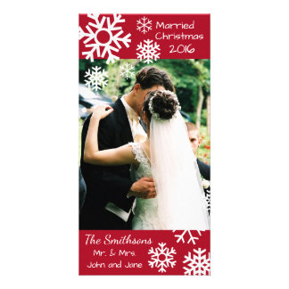 Dated Multiple Snowflakes Married Christmas (Red) Card