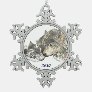 Dated Parent Mother or Father Wolf with Cubs Art Snowflake Pewter Christmas Ornament