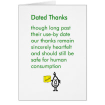 Dated Thanks - a funny thank you poem