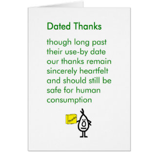 Dated Thanks - a funny thank you poem Card