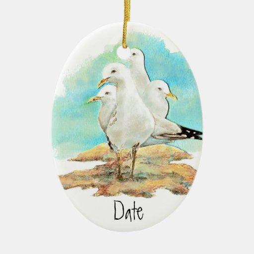 Dated, Watercolor Seagull, Beach, Shore, Bird Ornament