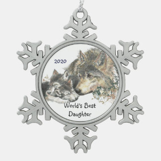 Dated World's Best Daughter  Wolf  Cubs Art Snowflake Pewter Christmas Ornament