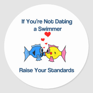 Dating a Swimmer Classic Round Sticker