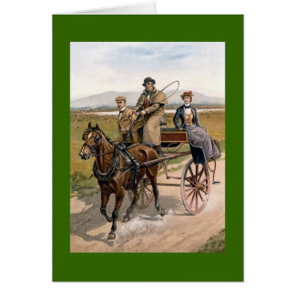 Dating Couple in Jaunting Cart Greeting Card
