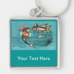 Dating Fish with Hats Vintage Key Chain
