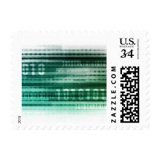 Datos y computación grandes de la nube timbres postales