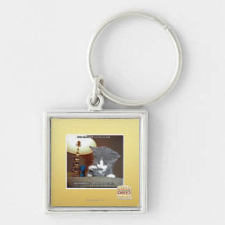 Dats one small step fur me Silver-Colored square keychain