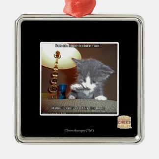 Dats one small step fur me square metal christmas ornament