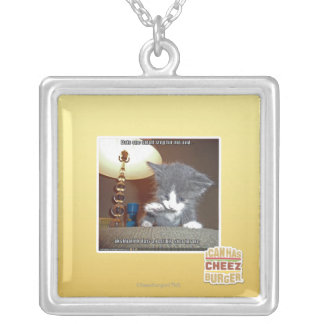 Dats one small step fur me square pendant necklace