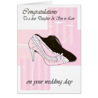 Daugher & Son in Law Wedding day cream congratulat Card