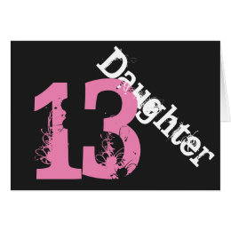Daughter 13th birthday cards greeting photo cards zazzle daughter 13th birthday white pink on black card bookmarktalkfo Gallery