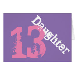 Daughter 13th birthday cards greeting photo cards zazzle daughter 13th birthday white pink on purple card bookmarktalkfo Gallery