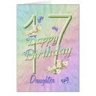 Daughter 17th Birthday Butterfly Garden Card