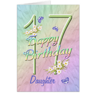 Daughter 17th Birthday Butterfly Garden Card