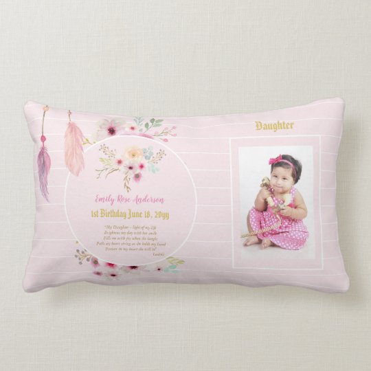 Daughter 1st Birthday Photo And Poem Gift Lumbar Pillow Zazzle